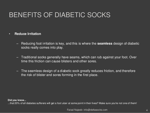 BENEFITS OF DIABETIC SOCKS• Reduce Irritation– Reducing foot irritation is key, and this is where the seamless design of d...