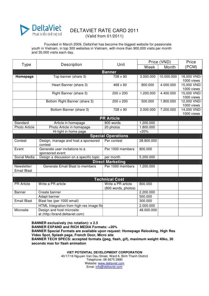 DELTAVIET RATE CARD 2011                                               (Valid from 01/2011)                     Founded in...