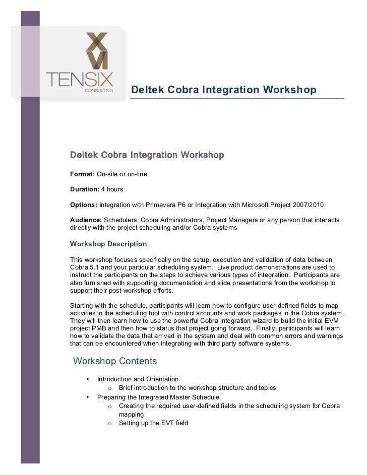 Deltek Cobra Integration Workshop       Deltek Cobra Integration Workshop        Format: On...