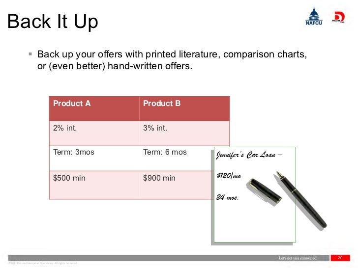Back It Up                 Back up your offers with printed literature, comparison charts,                  or (even bett...