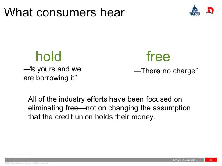 What consumers hear                                       hold                    free                       ―It yours and...