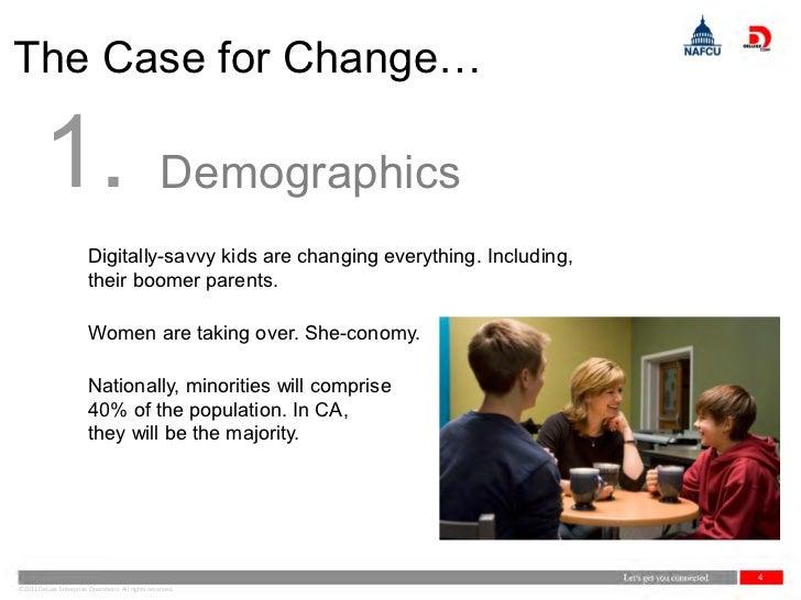 The Case for Change…        1.                                         Demographics                         Digitally-savv...