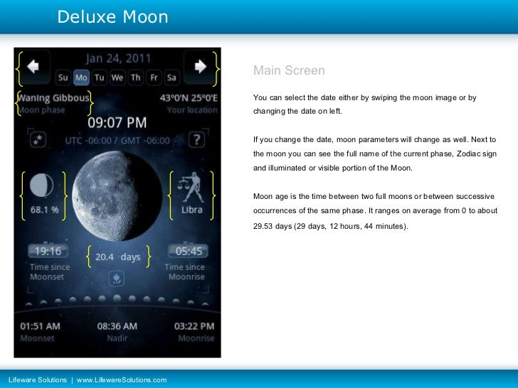 Main Screen You can select the date either by swiping the moon image or by changing the date on left. If you change the da...