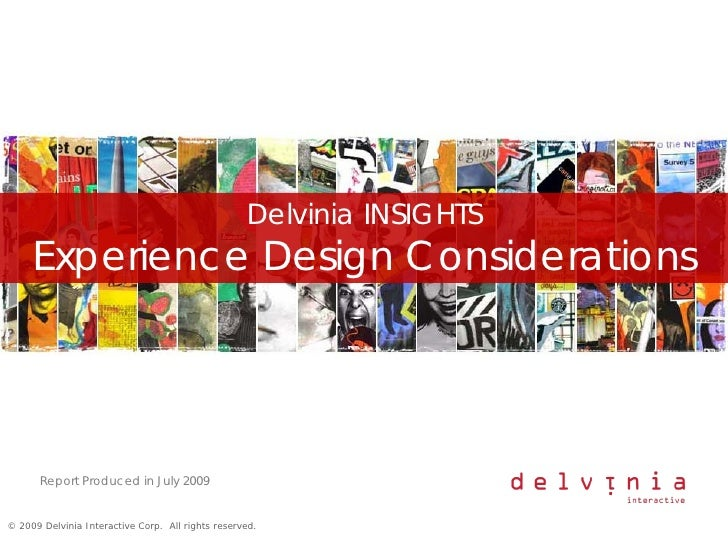 Delvinia INSIGHTS      Experience Design Considerations            Report Produced in July 2009   © 2009 Delvinia Interact...