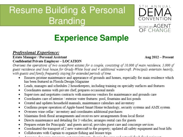 Personal Branding and Resume Building DEMA 2016
