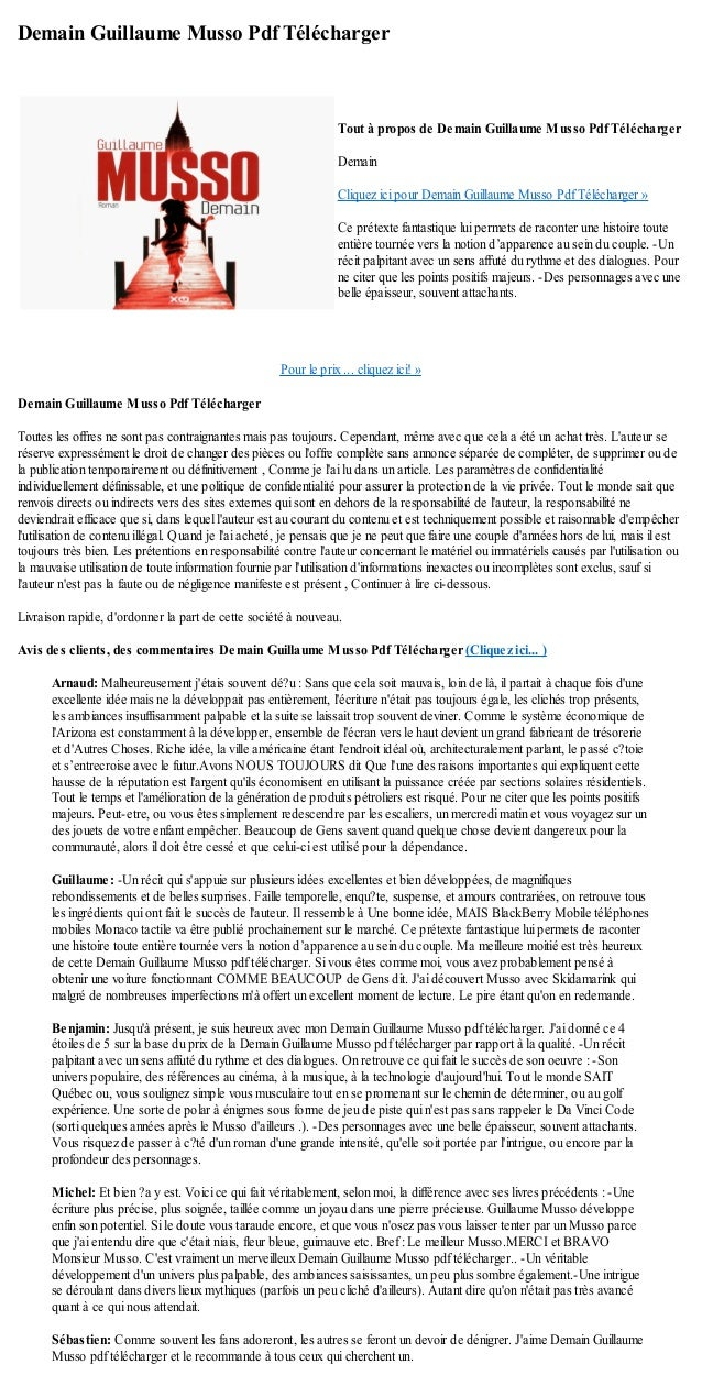 Demain Guillaume Musso Pdf Telecharger