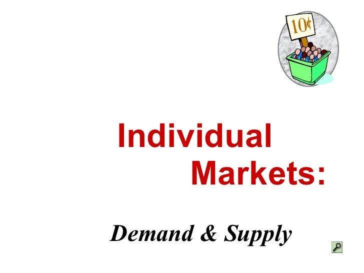Individual  Markets: Demand & Supply