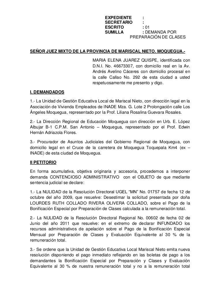 EXPEDIENTE:<br />SECRETARIO: <br />ESCRITO: 01<br />SUMILLA: DEMANDA POR  PREPARACIÓN DE CLASES<br />SEÑOR JUEZ MIXTO DE L...