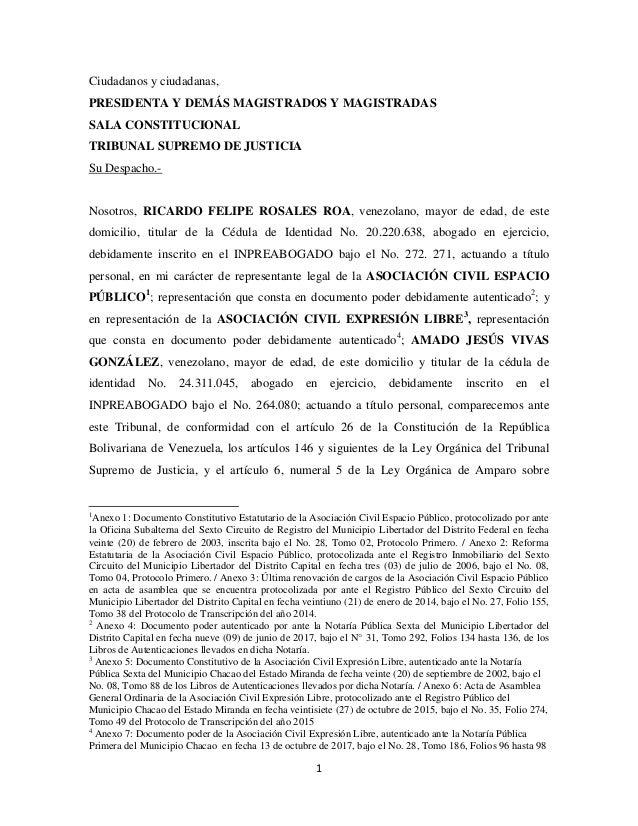 1 Ciudadanos y ciudadanas, PRESIDENTA Y DEMÁS MAGISTRADOS Y MAGISTRADAS SALA CONSTITUCIONAL TRIBUNAL SUPREMO DE JUSTICIA S...