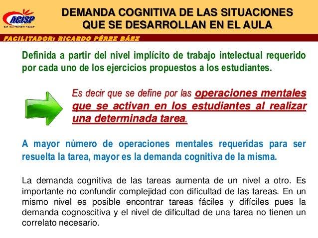 DEMANDA COGNITIVA DE LAS SITUACIONES QUE SE DESARROLLAN EN EL AULA Definida a partir del nivel implícito de trabajo intele...
