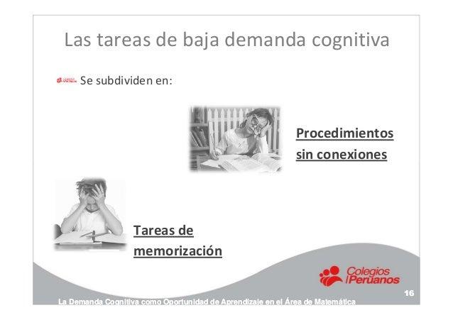 Las tareas de baja demanda cognitiva Se subdividen en: Procedimientos sin conexiones La Demanda Cognitiva como Oportunidad...