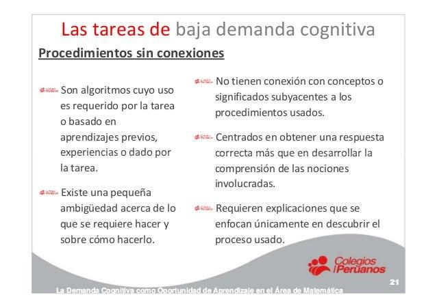 Las tareas de baja demanda cognitiva Son algoritmos cuyo uso es requerido por la tarea o basado en aprendizajes previos, e...