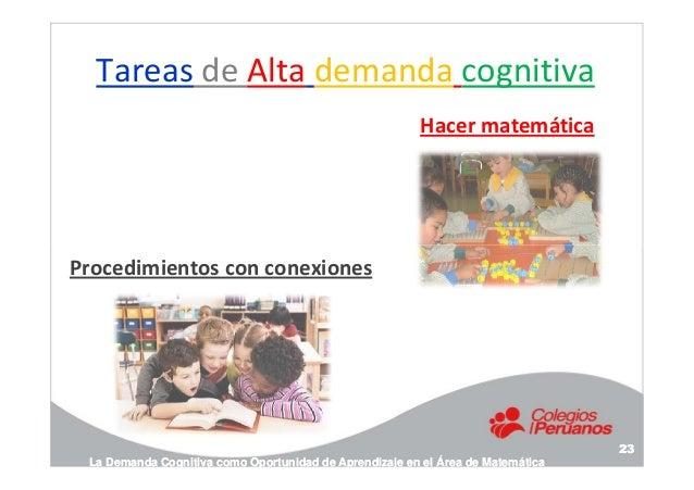 Tareas de Alta demanda cognitiva Hacer matemática Procedimientos con conexiones La Demanda Cognitiva como Oportunidad de A...
