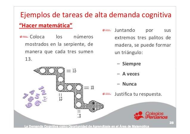 """Ejemplos de tareas de alta demanda cognitiva """"Hacer matemática"""" Coloca los números mostrados en la serpiente, de manera qu..."""