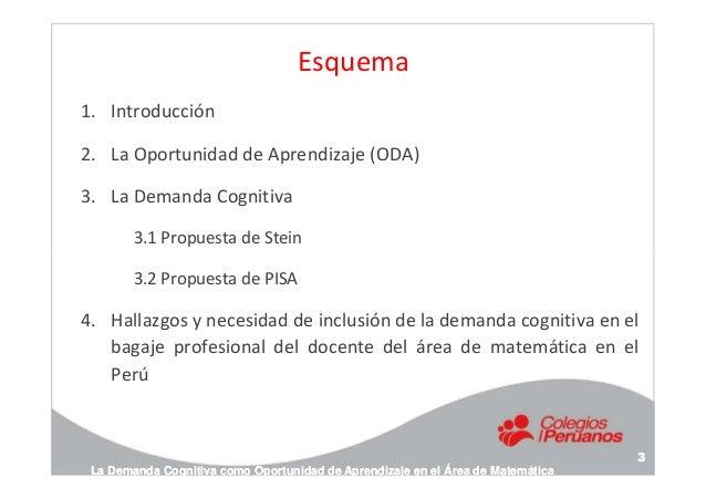 Esquema 1. Introducción 2. La Oportunidad de Aprendizaje (ODA) 3. La Demanda Cognitiva 3.1 Propuesta de Stein 3.2 Propuest...