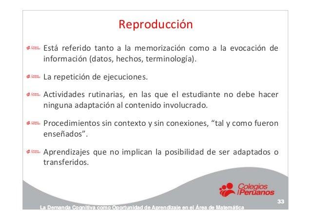 Reproducción Está referido tanto a la memorización como a la evocación de información (datos, hechos, terminología). La re...