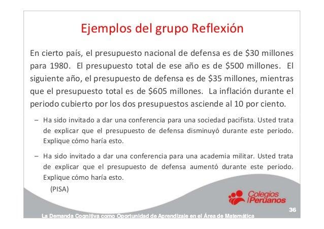 Ejemplos del grupo Reflexión En cierto país, el presupuesto nacional de defensa es de $30 millones para 1980. El presupues...
