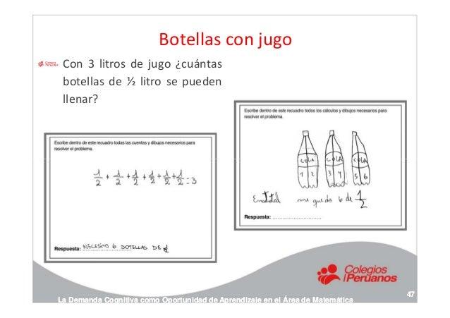 Botellas con jugo Con 3 litros de jugo ¿cuántas botellas de ½ litro se pueden llenar? La Demanda Cognitiva como Oportunida...