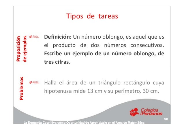 Tipos de tareas Definición: Un número oblongo, es aquel que es el producto de dos números consecutivos. Escribe un ejemplo...