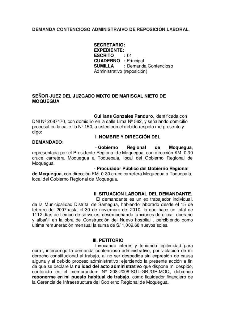 DEMANDA CONTENCIOSO ADMINISTRAIVO DE REPOSICIÓN LABORAL.<br /> <br />...