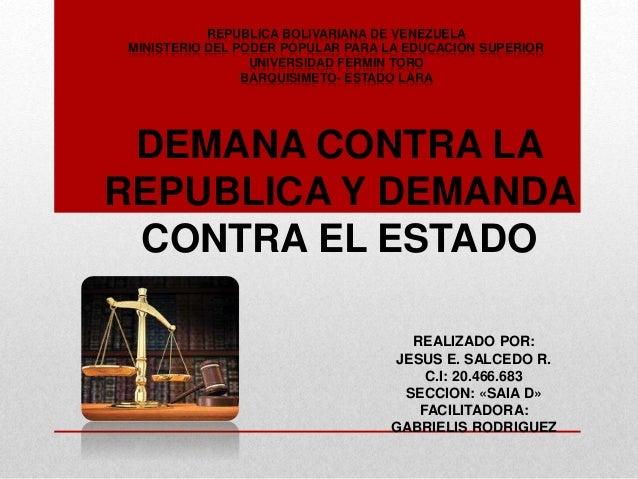 REPUBLICA BOLIVARIANA DE VENEZUELA MINISTERIO DEL PODER POPULAR PARA LA EDUCACION SUPERIOR UNIVERSIDAD FERMIN TORO BARQUIS...
