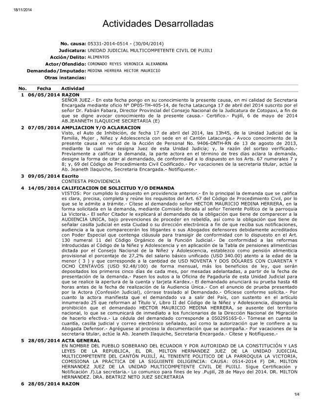 18/11/2014  Actividades Desarrolladas  No.  causa:  05331-2014-0514 - (30/04/2014) Judicatura:  UNIDAD JUDICIAL MULTICOMPE...