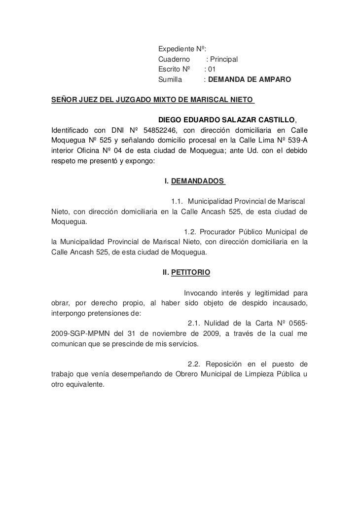 Expediente Nº:Cuaderno        : PrincipalEscrito Nº       : 01Sumilla           : DEMANDA DE AMPARO<br />SEÑOR JUEZ DEL ...