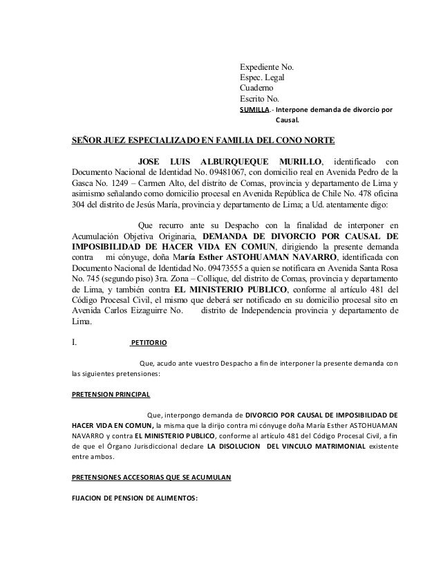 Expediente No. Espec. Legal Cuaderno Escrito No. SUMILLA.- Interpone demanda de divorcio por Causal.  SEÑOR JUEZ ESPECIALI...