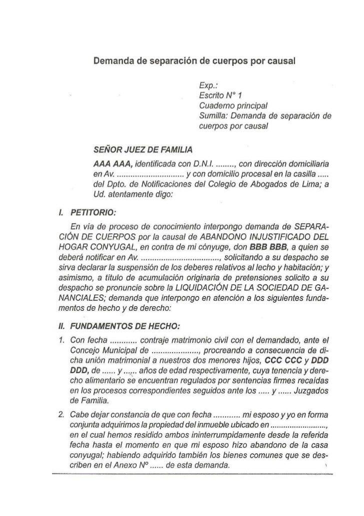 Demanda de separacion de cuerpos por causal for Consulta demanda de empleo