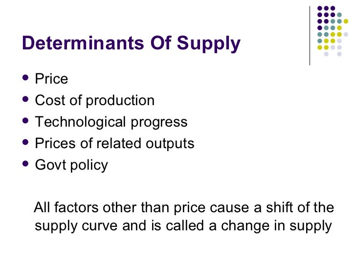 Use 'determinants of supply' in a Sentence
