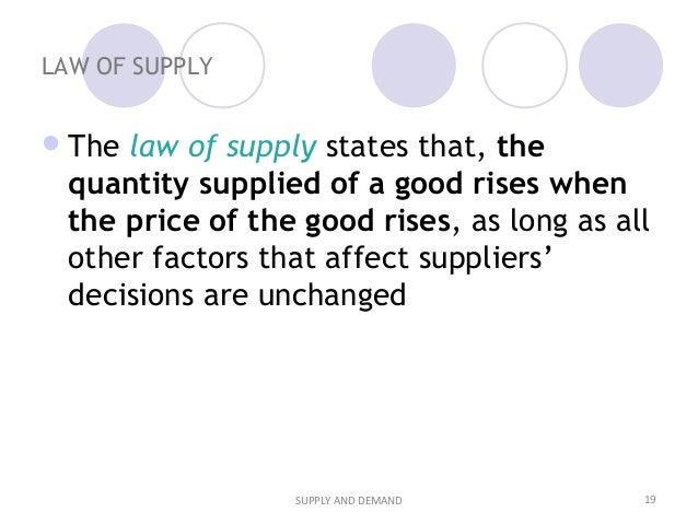 what does the law of supply state