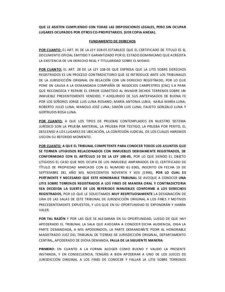 MODELO SOLICITUD LITIS SOBRE TERRENOS REGISTRADOS DEMANDA EN POSESIÓN…