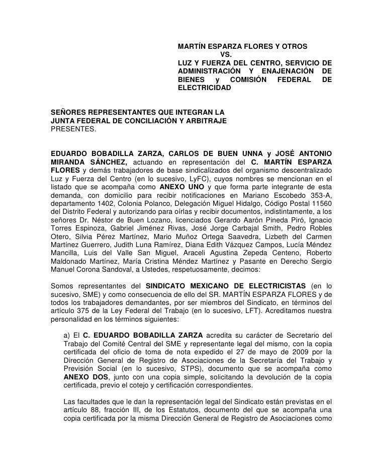 Demanda Por Los Despidos Ly F Noviembre 2009
