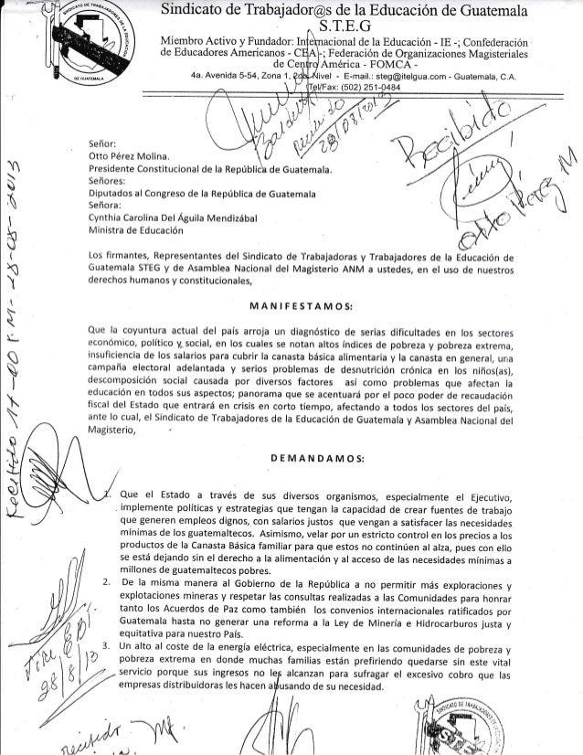 Demandas del steg, 28 de agosto 2013