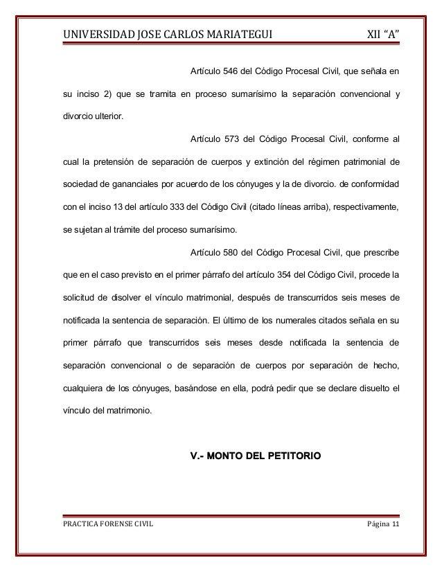 """UNIVERSIDAD JOSE CARLOS MARIATEGUI XII """"A""""  Artículo 546 del Código Procesal Civil, que señala en  su inciso 2) que se tra..."""