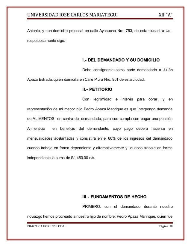 """UNIVERSIDAD JOSE CARLOS MARIATEGUI XII """"A""""  Antonio, y con domicilio procesal en calle Ayacucho Nro. 753, de esta ciudad, ..."""