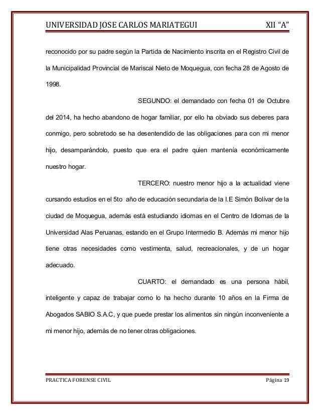 """UNIVERSIDAD JOSE CARLOS MARIATEGUI XII """"A""""  reconocido por su padre según la Partida de Nacimiento inscrita en el Registro..."""