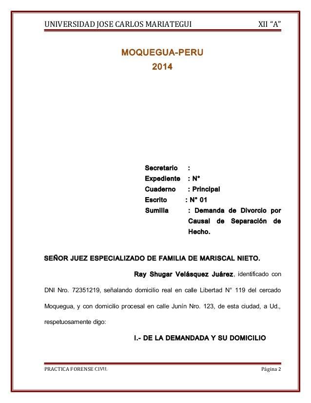 """UNIVERSIDAD JOSE CARLOS MARIATEGUI XII """"A""""  MOQUEGUA-PERU  2014  Secretario :  Expediente : N°  Cuaderno : Principal  Escr..."""
