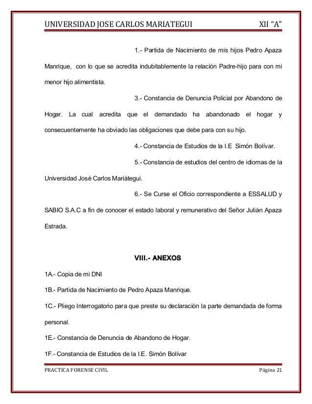"""UNIVERSIDAD JOSE CARLOS MARIATEGUI XII """"A""""  1.- Partida de Nacimiento de mis hijos Pedro Apaza  Manrique, con lo que se ac..."""