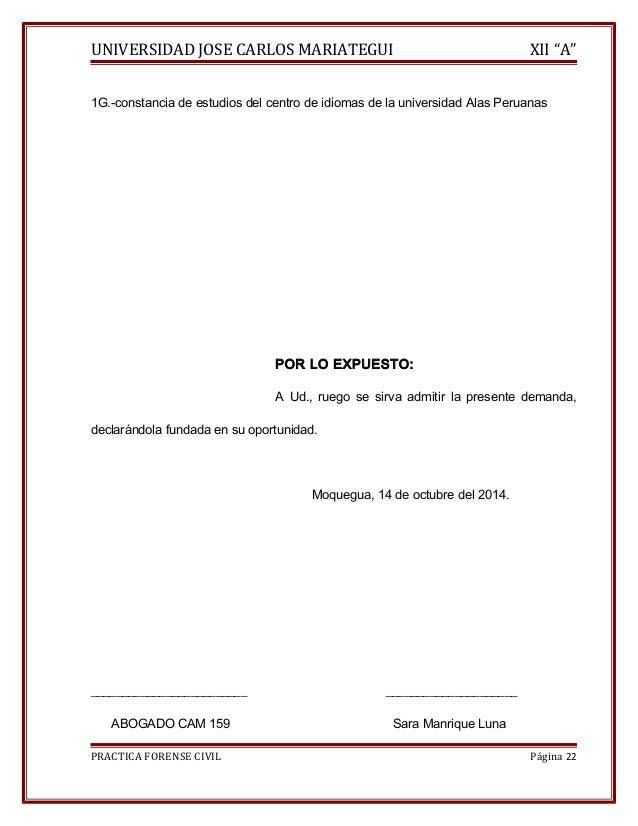 """UNIVERSIDAD JOSE CARLOS MARIATEGUI XII """"A""""  1G.-constancia de estudios del centro de idiomas de la universidad Alas Peruan..."""