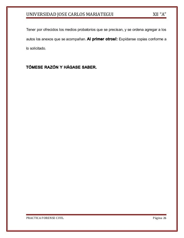 """UNIVERSIDAD JOSE CARLOS MARIATEGUI XII """"A""""  Tener por ofrecidos los medios probatorios que se precisan, y se ordena agrega..."""