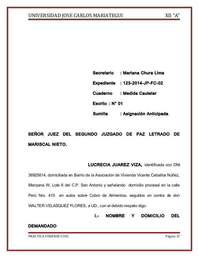 """UNIVERSIDAD JOSE CARLOS MARIATEGUI XII """"A""""  Secretario : Mariana Chura Lima  Expediente : 123-2014-JP-FC-02  Cuaderno : Me..."""