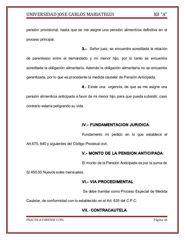 """UNIVERSIDAD JOSE CARLOS MARIATEGUI XII """"A""""  pensión provisional, hasta que se me asigne una pensión alimenticia definitiva..."""