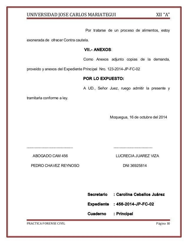"""UNIVERSIDAD JOSE CARLOS MARIATEGUI XII """"A""""  Por tratarse de un proceso de alimentos, estoy  exonerada de ofrecer Contra ca..."""