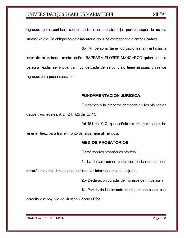 """UNIVERSIDAD JOSE CARLOS MARIATEGUI XII """"A""""  ingresos, para contribuir con el sustento de nuestra hija, porque según la nor..."""