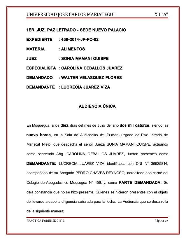 """UNIVERSIDAD JOSE CARLOS MARIATEGUI XII """"A""""  1ER .JUZ. PAZ LETRADO - SEDE NUEVO PALACIO  EXPEDIENTE : 456-2014-JP-FC-02  MA..."""