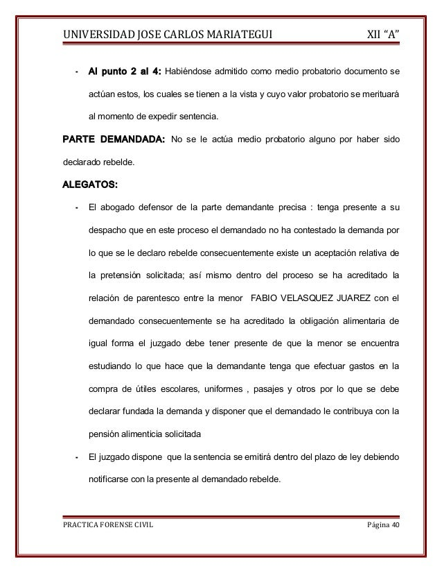 """UNIVERSIDAD JOSE CARLOS MARIATEGUI XII """"A""""  - Al punto 2 al 4: Habiéndose admitido como medio probatorio documento se  act..."""