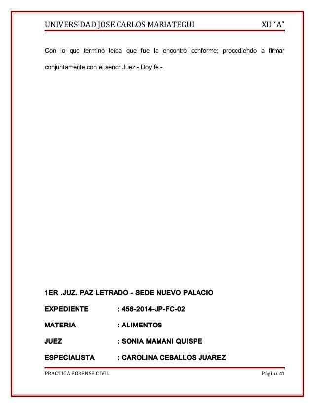 """UNIVERSIDAD JOSE CARLOS MARIATEGUI XII """"A""""  Con lo que terminó leída que fue la encontró conforme; procediendo a firmar  c..."""