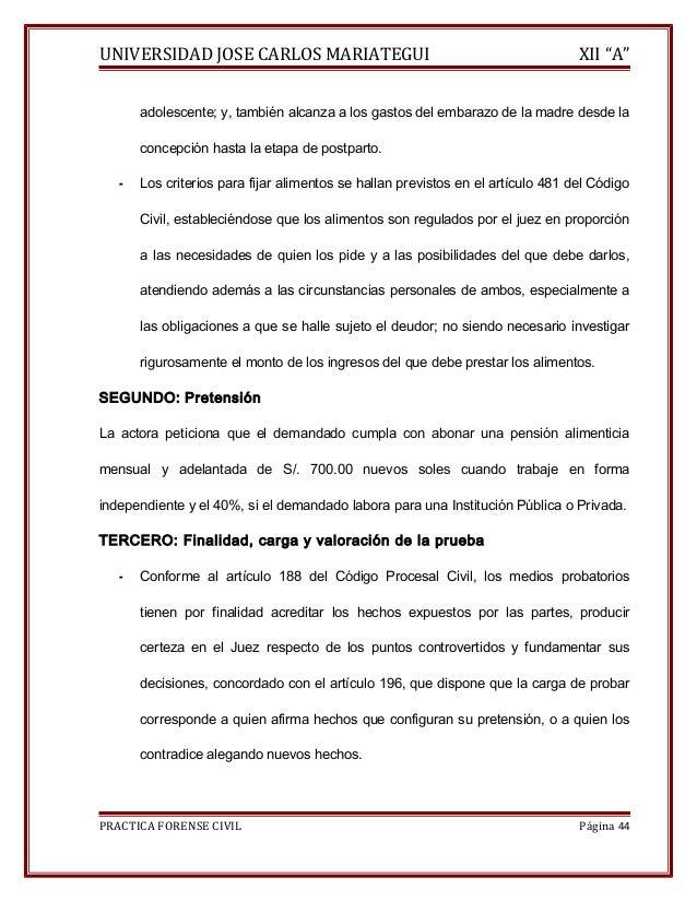"""UNIVERSIDAD JOSE CARLOS MARIATEGUI XII """"A""""  adolescente; y, también alcanza a los gastos del embarazo de la madre desde la..."""