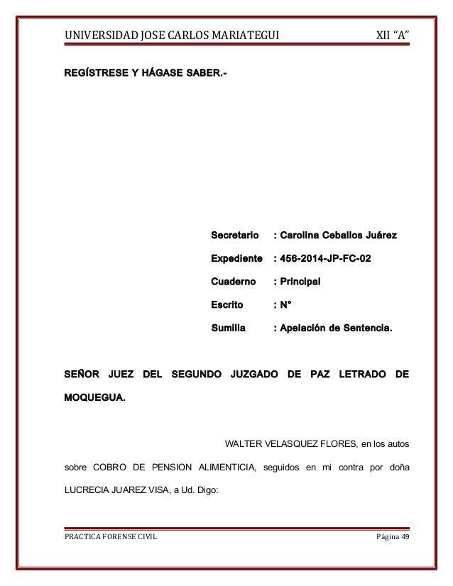 """UNIVERSIDAD JOSE CARLOS MARIATEGUI XII """"A""""  REGÍSTRESE Y HÁGASE SABER.-  Secretario : Carolina Ceballos Juárez  Expediente..."""